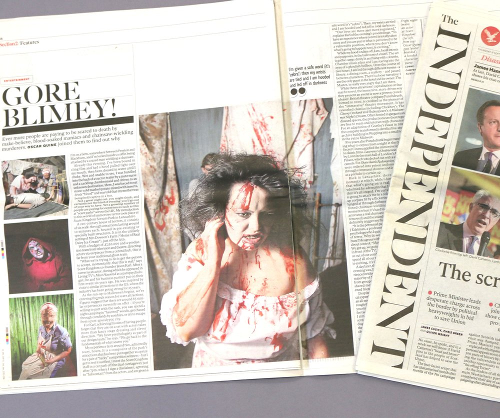 3manfactory PR team secure coverage for Scare Kingdom in The Independent