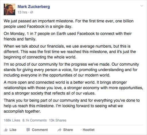 Mark Zuckerberg's Facebook post