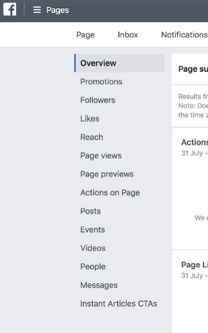 A screenshot of Facebook's metrics and analytics sidebar