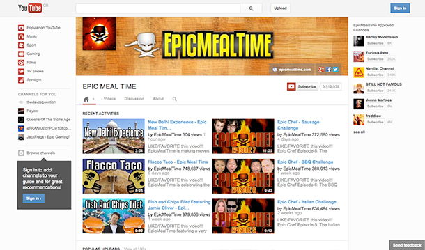 YouTube Channel EpicMealTime