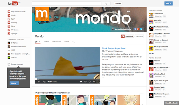 YouTube Channel Mondo Media